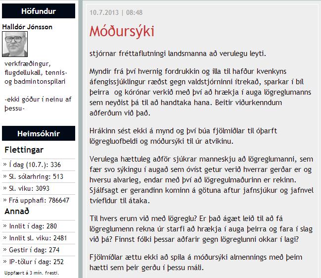 Móðursýki Halldór Jónsson moggabloggari